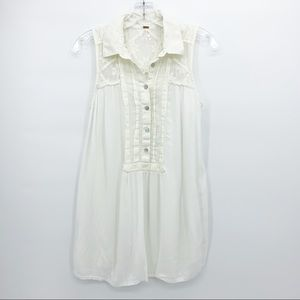 Free People Sleeveless Button Down White Small